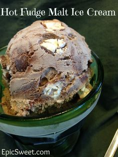Hot Fudge Malt Ice Cream: this is a chocolate malt ice cream with a hot fudge ripple and chopped malted milk balls in it! It is soooooooo wonderful! Your gone love this recipe!