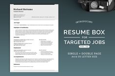 Resume Box for Targeted Jobs V.2 by SNIPESCIENTIST on @creativemarket