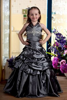 Dresswe.com SUPPLIES Charming Floor-length Ball Gown Halter Ruched Flower Girl Dress 2013 Flower Girl Dresses