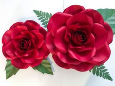 Large and medium Rose Combo. Available in The Crafty Sagittarius Shop in SVG and PDF. Tutorial is also included #paper #flower #Flowers #paperflowers #thecraftysagittarius #Designs #design #backdrop #paperflowerwall #wedding #weddings #Event #party #origami #DIY #handmade