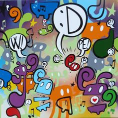 """ DANCE with me!"" - cm 50x50; inches 19,7x19,7 enamel paint on canvas- 2013-www.willow-artblog.com"