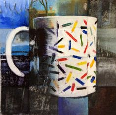 "'pencil mug ...' #mixedmedia on phototransfer.  part of a triptych which was exhibited in Attleboro Arts Museum's ""Possessions"" exhibit 2015"