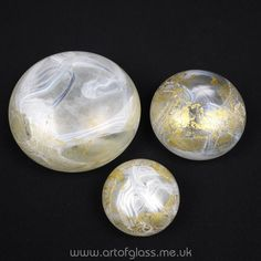 Isle of Wight Studio Glass set of 3 Golden Peacock paperweights