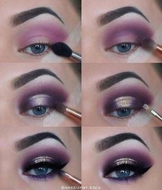 Eye Make-up - Purple Eyeshadow Tutorial Purple Eye Makeup, Glitter Eye Makeup, Makeup For Green Eyes, Natural Eye Makeup, Smokey Eye Makeup, Eyeshadow Makeup, Makeup Brushes, Eyeshadow Ideas, Purple Wedding Makeup