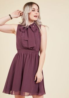 Give it Timeless A-Line Dress in Aubergine   Mod Retro Vintage Dresses   ModCloth.com  You've patiently awaited a style as sweet as this muted plum dress, and now that it's arrived, you'll wear it everywhere! Part of our ModCloth namesake label, this chiffon frock features a tied neckline, a keyhole-touched back, and a gathered waist, making for a beautiful look that adds a touch of eternal elegance to your wardrobe.
