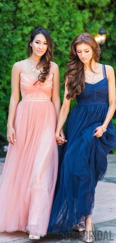 Straps Long A-line Tulle Bridesmaid Dresses, PD0928 – SofieBridal Tulle Bridesmaid Dress, Bridal Party Dresses, Short Bridesmaid Dresses, Prom Dresses, Wedding Dresses, Bridesmaids, Bridal Parties, Bridesmaid Outfit, Wedding Shoes