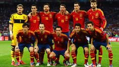 Spain line up before their UEFA EURO 2012 final against Italy.