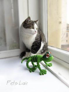 Crochet green lizard reptile fun toy amigurumi lizard от PetsLair