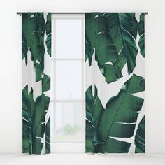 Green Tropical Leaves III Window Curtains By CatyArte Worldwide
