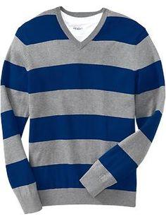 Men's Rugby-Stripe Lightweight V-Neck Sweaters | Old Navy