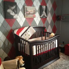 baby boys completed Ohio State nursery with argyle wall. Love it!