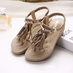 41.99$  Buy here - http://aixcm.worlditems.win/all/product.php?id=32793228595 - The New 2017 National Wind Roman Sandals Women Summer Thong Wedges Tassel for Women's Shoes Bohemian Sandals Flip-flops