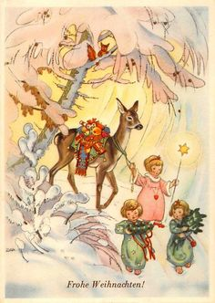 Charlotte Baron (RAA) - Vintage German Christmas Postcard Angels pulling deer  with gifts