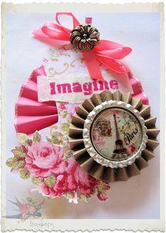 Handmade paper rosette by Elderberry Fairy