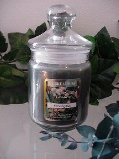 9.5 oz Apothecary Jar Eucalyptus Scent Candle by Unique Aromas. $20.78. Price per jar candle. Candle color may vary from photograph. Eucalyptus scent. This candle is sure to bring joy and warmth to all those in the presence of it.Some assembly may be required. Please see product details.Some assembly may be required. Please see product details.