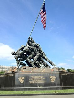 The Marine Corps War Memorial (also called the Iwo Jima Memorial) is a military memorial statue outside the walls of the Arlington National Cemetery and next to the Netherlands Carillon, in Arlington, Virginia, in the United States. The memorial is dedicated to all personnel of the United States Marine Corps who have died in the defense of their country since 1775.
