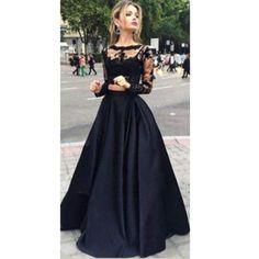 Two Piece Prom Dresses Long, Black Formal Evening Dresses With Sleeves, Elegant Military Ball Dresses Lace, Modest Pageant Graduation Party Dresses Tulle Grad Dresses Long, Prom Dresses Two Piece, Evening Dresses With Sleeves, Long Prom Gowns, Black Prom Dresses, Prom Dresses Online, Formal Evening Dresses, Ball Dresses, Party Dresses