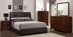 Upholstered Platform Bed in Dark Brown Bi-Cast Vinyl belongs to Bleeker Collection by Homelegance Discount Bedroom Furniture, Bedroom Furniture Sets, Bedroom Decor, Upholstered Platform Bed, Upholstered Beds, Platform Beds, California King Platform Bed, Grey Bed Frame, Bed Frame Design