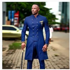 Safari two piece suit in blue colour/african men safari suit African Wear Styles For Men, African Shirts For Men, African Dresses Men, African Attire For Men, African Clothing For Men, African Wedding Attire, African Outfits, African Style, Traditional African Clothing