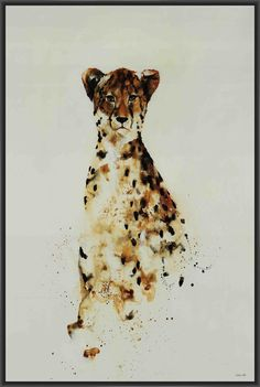 """CHEETAH 22L X 28H Floater Framed Art Giclee Wrapped Canvas - Gallery wrapped giclee print on canvas entitled """"CHEETAH"""". Surrounded by an elegant black floater frame. Archival quality UV-resistant inks designed to last. Item comes ready to hang.A gel coating then adds dimension and texture to this impressive giclee art print. The gel embellishment effectively mimics original brush strokes of the painting, highlighting areas with added depth. Black Floater Frame Gallery Quality Art Piece…"""