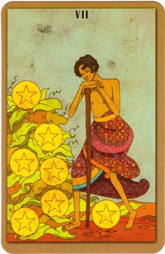 Seven of Pentacles Upright:Vision, perseverance, profit, reward, investment Reversed: Lack of long-term vision, limited success or reward