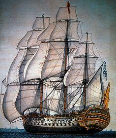Spanish Warship, Santisima Trinidad, Largest 18th Century Warship, Lithograph.  #ship  #warship #nautical #spanishwarship #military #illustration #18thcentury