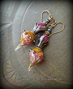 Lampwork Glass, Lampwork Headpins, Jade, Flowers, Rustic,Organic, Earthy, Beaded Earrings by YuccaBloom on Etsy