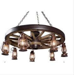 Great Prices on Wagon Wheel Chandeliers, Reproduction  Wild West Wagon Wheel Chandelier Rustic Chandelier Wagon Wheel Lights Western Chandelier Wagon Wheel Lighting Western Decor Rustic Decor Wagon Lights  NEW- SAVE $25 by using 25DollarsOFF COUPON when checking out, expires end of this month A newer design, the Wild West Large Wagon Wheel Chandelier with Lanterns, Reproduction, is 42 inches wide and 12 inches tall (Approximately) and has 7 lanterns with 25-watt lights in each. This wagon…