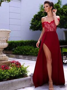 Decent Strapless Short Sleeves Sweep Train Wine Prom Dress with Lace Top Legslit