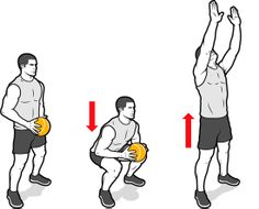 Tree Topper  Stand with your feet slightly beyond shoulder width and hold the ball against your waist with both hands. Now push your hips back, bend your knees, and stand up explosively as you raise your arms and launch the ball as high as possible. Let it fall to the floor; pick it up and repeat.