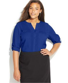 Calvin Klein Plus Size Roll-Tab-Sleeve Blouse - Tops - Plus Sizes - Macy's