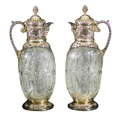 Pair Antique Silver and Carved Glass Claret Jugs | From a unique collection of vintage dinnerware and flatware sets at https://www.1stdibs.com/jewelry/silver-flatware-silverplate/dinnerware-flatware/