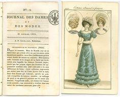 Antique 1821 Regency magazine + fashion print Costume Parisien no.9 gown hat bonnet Georgian
