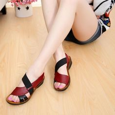 Image of ZZPOHE Women Sandals 2018 Summer Fashion Leather Flats Mother Sandals Woman Casual Comfortable Soft Bottom Sandals Plus Size Rubber Sandals, Flat Sandals, Shoes Sandals, Women Sandals, Ladies Sandals, Sandals 2018, Cute Shoes, Me Too Shoes, Large Size Shoes
