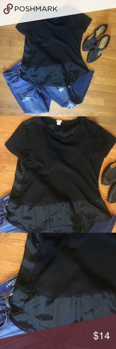 J.Crew soft cotton T w/ polyester contrast panel J.Crew soft wash cotton T shirt with polyester contrast panel on bottom front and entire back of T. Loose fit, size L, thin material. J. Crew Tops Tees - Short Sleeve