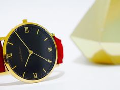 Gold & Black watch with Red Suede Strap