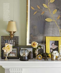 French inspired by Myra Hoefer a Parisian romantic - very consistent color Yellow Accents, Paris Apartments, French Country House, Displaying Collections, Window Wall, Black Decor, Wall Treatments, Vignettes, Parisian