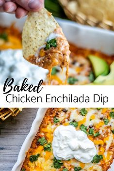 The BEST Baked Chicken Enchilada Dip recipe! This Mexican inspired appetizer is . - The BEST Baked Chicken Enchilada Dip recipe! This Mexican inspired appetizer is super easy and chee - Enchilada Sauce, Chicken Enchilada Dip, Chicken Enchiladas, Chicken Appetizers, Easy Appetizer Recipes, Best Appetizers, Appetizer Dips, Chicken Recipes, Mexican Appetizers Easy