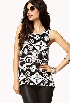 Work attire: Tribal Print High-Low Tank | FOREVER 21 - 2000074391