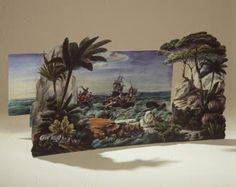 85/1042 Toy theatre, 'La Pleine Mer, Scenes Maritimes en Action', with script and lithographs by Charles Letaille, paper / cardboard, published by J. Pintard, Rue Saint-Jacques, Paris, France, 1836 - Powerhouse Museum Collection