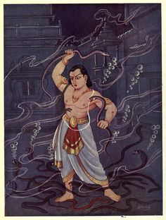 The mighty Bhima, the second of the Pandavas, fighting with the Nagas.
