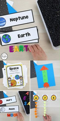 Preschoolers will have fun learning about the night sky and the planets with this full week of printable preschool space theme lesson plans full of playful reading, math, and science activities. Preschool Teacher Tips, Preschool Lesson Plans, Preschool Classroom, Teacher Hacks, Space Theme Preschool, Head Start Classroom, Early Childhood Education, Science Activities, Outer Space