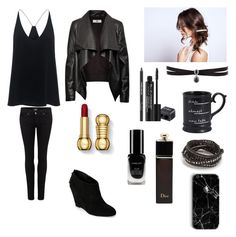 """""""#black #me #coffee #choker"""" by annabethjames ❤ liked on Polyvore featuring TIBI, HIDE, Paige Denim, Anne Klein, Dream Collective, Fallon, Rodial, Pier 1 Imports, Chan Luu and Christian Dior"""