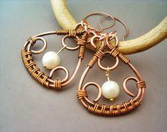 Wire Wrapped Copper Earrings von Gears Factory auf DaWanda.com