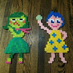 Disgust and Joy - Inside Out film characters perler beads by 96vin