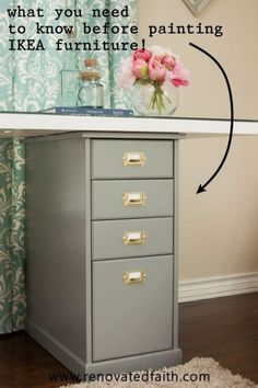 All IKEA furniture can be painted but it's important to do it the right way so your paint doesn't peel! This is an easy DIY tutorial & video on the best way to paint it including whether to paint ikea furniture before or after assembly, what to use to paint ikea furniture & how to make it last . I also share tips on staining ikea furniture darker than the original color and time-saving tips on how to paint ikea furniture white or with chalk paint. How to spray hardware easily Ikea Furniture Makeover, Glazing Furniture, Painting Laminate Furniture, Diy Furniture Projects, Farmhouse Furniture, Furniture Refinishing, Diy Projects, Furniture Assembly, Houses