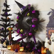 Witch Hat with Purple & Green Balls Wreath