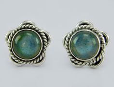 925 Sterling Solid Silver Unique Jewelry Labradorite Stud Earring s.10 mm SS-240