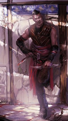 m Rogue Assassin Leather Armor Dual Daggers Poison urban City street alley Toron the Unseen lg Fantasy Male, High Fantasy, Fantasy Warrior, Fantasy Rpg, Character Concept, Character Art, Concept Art, Fantasy Portraits, Character Portraits