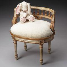 Butler Artist's Originals Vanity Seat in Distressed Cream and Gold